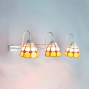 3 Lights Dome Sconce Light Tiffany Style Rustic Stained Glass Wall Light for Living Room