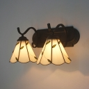 Bedroom Hallway Cone Wall Light with Leaf Glass 2 Lights Rustic Style White Sconce Light