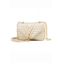 Stylish Solid Color Letter V Tassel Embellishment Quilted Crossbody Clutch Bag 21*5.5*13 CM
