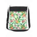 Stylish Fruit Printed Green Canvas Shoulder Messenger Bag 22.5*27 CM
