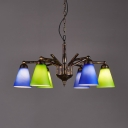 Cone Dining Room Chandelier Light Metal and Glass 6 Lights Antique Hanging Light