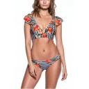 Hot Fashion Sexy Fruits Striped Print V-Neck Lace-Up Back Bikini Swimwear