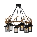 Metal and Resin Cage Pendant Light with Deer Horn Dining Room 6 Lights Vintage Chandelier in Black