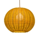 Brown Globe Ceiling Light Fixture Single Light Rustic Rattan Ceiling Light for Restaurant Shop