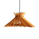 Beige Cone Ceiling Light Fixture Single Light Vintage Style Bamboo Pendant Lighting for Kitchen