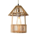 Beige House Shape Hanging Light Single Light Rustic Style Bamboo Pendant Lighting for Living Room