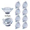 7W Chrome LED Light Fixture 10 Pack Round Metal Recessed Light for Dining Room Restaurant