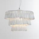 Single Light Round Light Fixture European Style Tassel Chandelier Light in White/Blue/Pink