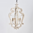 4 Lights Candle Chandelier Lamp Rustic Style Wood Suspension Light in White/Wood for Dining Room