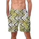 Fashion Tropical Leaf Pattern Men's Summer Green Casual Holiday Swim Shorts