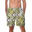 Fashion Tropical Leaf Pattern Men's Summer Green Casual Holiday Swim Shorts