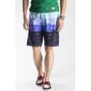 Men's New Trendy Color Block Drawstring Waist Quick Dry Swim Trunks