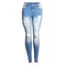 Womens New Stylish Destroyed Ripped Faded Blue Stretch Skinny Fit Jeans