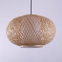 Antique Style LED Pendant Lighting with Oval Shade Single Light Rattan Ceiling Light for Dinning Room