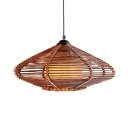 Single Light Ceiling Light Fixture with Wood Shade Antique Style Pendant Lighting for Hallway Foyer