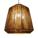 Rope Dome Shade Ceiling Light 3 Lights Rustic Style Hanging Pendant Lamp in Beige