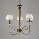 3 Lights Pendant Light with Tapered Shade Elegant Fabric and Metal Chandelier for Dining Room Living Room