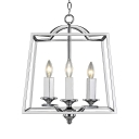 Polished Nickle Tapered Hanging Light with Candle Triple Light Modern Metal Pendant Lighting