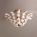 Bowl Shape Bedroom Semi Flush Light Metal 3 Lights Antique Style Ceiling Light with White Flower Decoration