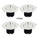 (4 Pack)Round Flush Mount Recessed with Heat Sink 20/30W Wireless Light Fixture in White/Warm White for Gallery Mall
