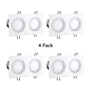 (4 Pack)Rectangle Wireless Light Fixture Hallway 15/30W Black/White Recessed Light in White/Warm White