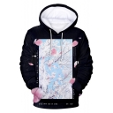 New Trendy Floral Pattern Loose Casual Pullover Black Hoodie