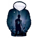 Fashion Galaxy Figure Printed Blue Sport Loose Drawstring Hoodie