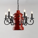 Fire Hydrant Decoration Chandelier Metal 6 Lights Vintage Style Red Pendant Lamp for Bar Restaurant