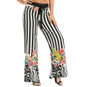 Women's New Stylish Stripe Floral Printed Tied Front High-Rise Palazzo Wide-Leg Pants