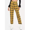 Vintage Classic Plaid Printed High Rise Cotton Loose Casual Pants Trousers for Women
