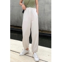 Womens Summer Stylish High Rise Drawstring Waist Solid Color Elastic Cuff Casual Straight Fit Pants