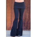 Women's Hot Popular Simple Plain Patchwork Slim Fit Flare Pants