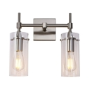 Metal and Glass Sconce Wall Light Dining Room Bathroom 2 Lights European Style LED Wall Lamp in Nickel/Chrome
