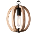 Kitchen Hallway Melon Shape Pendant Wood Single Light Rustic Style Beige Hanging Lamp