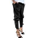 Women's Solid Color Elastic Waist Buckle Embellished Side Military Harem Pants