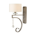 1 Light Drum Shade Wall Light Elegant Style Metal Wall Lamp with Clear Crystal for Shop Hallway
