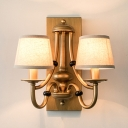Antique Style Tapered Shade Wall Light Metal 2 Lights Gold Wall Lamp for Dining Room Hotel