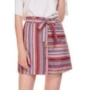 Summer Trendy Stripe Printed Bow-Tied Waist Button Front Mini A-Line Linen Skirt