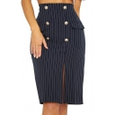 Office Lady Fashion Blue Stripe Printed Button Front Slit Side Knee Length Pencil Skirt