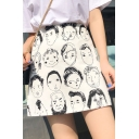 New Fashion Funny Cartoon Portrait Head Print High Rise Mini A-Line Skirt