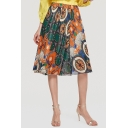 Summer Bohemian Floral Printed Chiffon Midi A-Line Beach Flowy Skirt