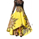 Retro African Tribal Printed Tied Waist High Low Hem Maxi Flared Swing Skirt