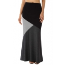 Womens Hot Fashion Unique Colorblock Casual Slouch Maxi Knit Skirt