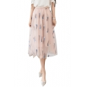 New Fancy Feather Embroidery High Rise Midi A-Line Gauze Mesh Skirt
