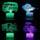 Birthday Gift Boys 3D Illusion Light with Remote Controller Touch Sensor 4 Car Pattern Design LED Optical Nightlight