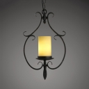 Metal Frosted Glass Ceiling Lamp 1 Light Antique Style Cylinder Hanging Light in White and Black for Restaurant