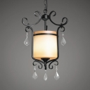 Antique Style Lantern Shape Ceiling Light with Clear Crystal 1 Light Metal Frosted Glass Pendant Light in Black and White