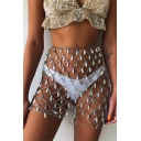 Womens Summer Holiday Beach Crystal Sequin Hollow Out Sparkly Handmade Sexy Mini Skirt