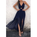 Hot Fashion Trendy Halter Neck Twist Cutout Front Sexy Split Side Maxi Beach Dress in Navy
