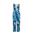 Womens Holiday Chic Blue Floral Printed Drawstring Waist Spaghetti Straps Beach Jumpsuits